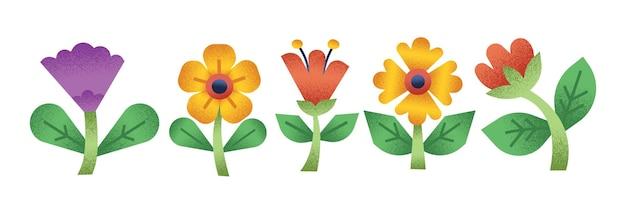 花や花のイラストの水平方向の白いバナーセット