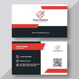 Horizontal white and black business card with front and back