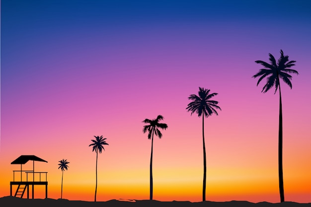水平の広いぼやけたピンクの背景-夕焼けの海とヤシの木