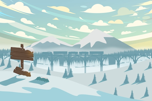 Horizontal winter landscape with mountain, train and forest