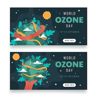Набор горизонтальных баннеров всемирного дня озона