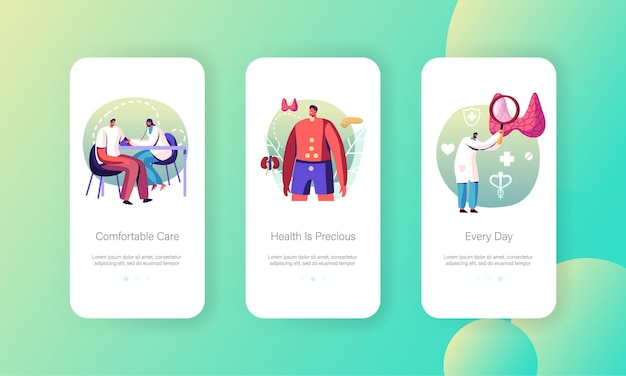 Hormone disease health care medical check up mobile app screen templates.
