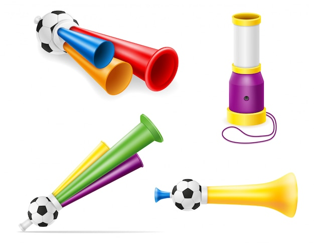 Horn attribute football soccer and sports fans illustration
