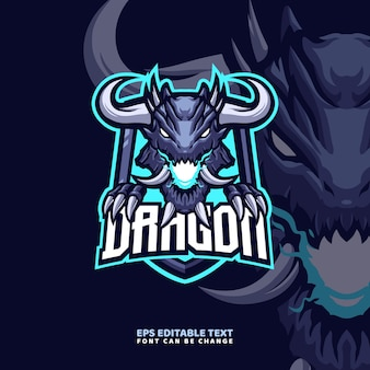 Horn dragon mascot logo template