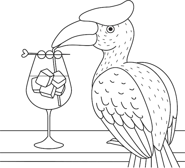 Hornbill bird cocktail for coloring book, coloring page.  illustration