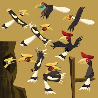 Hornbills set vector illustration