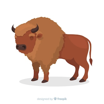 Horned brown buffalo cartoon illustration