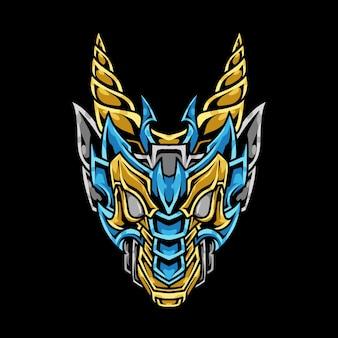 Рогатый дракон голова абстрактный орнамент иллюстрация