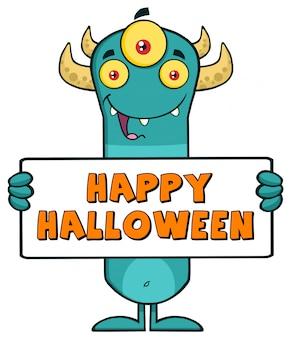 Horned monster cartoon holding a sign