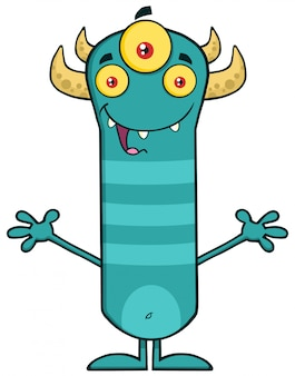Horned monster cartoon with open arms