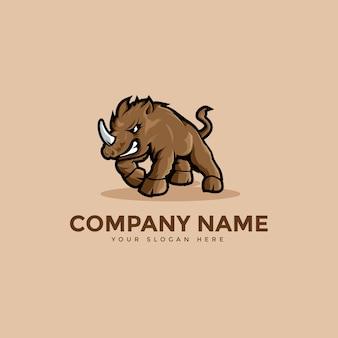 Horned rhinoceros mascot logo