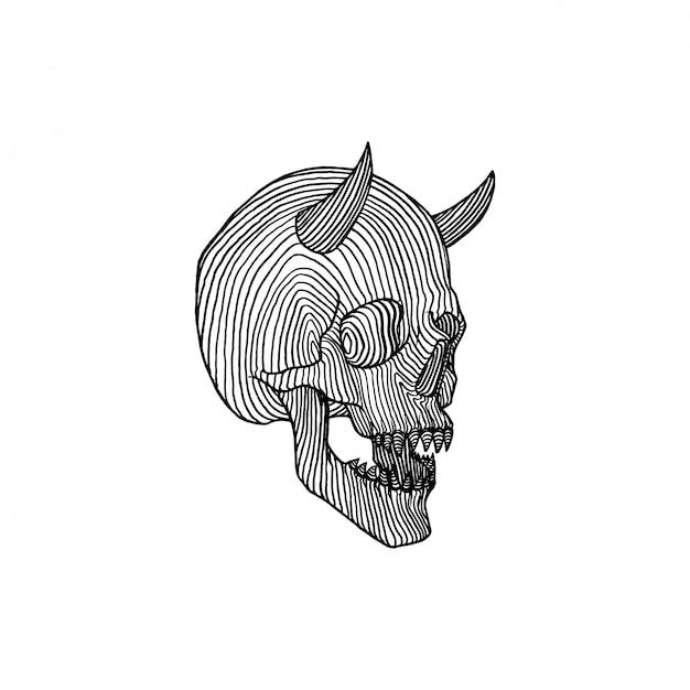 Horned skull drawing