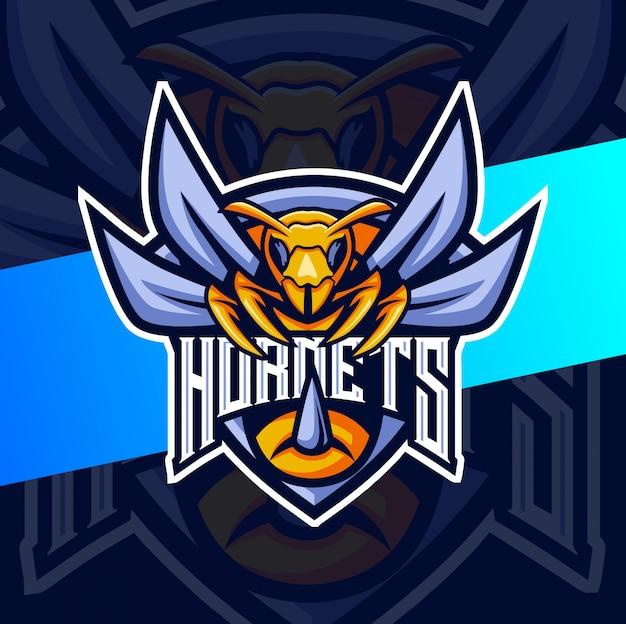 Hornet bee талисман киберспорт дизайн логотипа