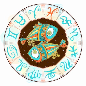 Horoscope sign pisces in the zodiac circle.