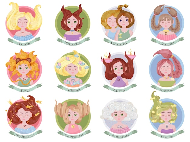 Horoscope. twelve zodiac signs with cute girls. astrology icons set.