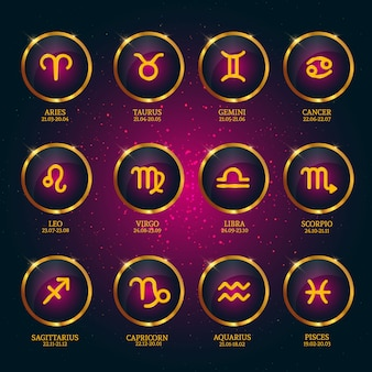 Horoscope with dates. zodiac icons collection on star background