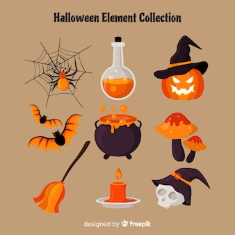 Horrific halloween elements with flat design