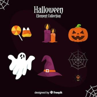 Horrific halloween elements with flat design