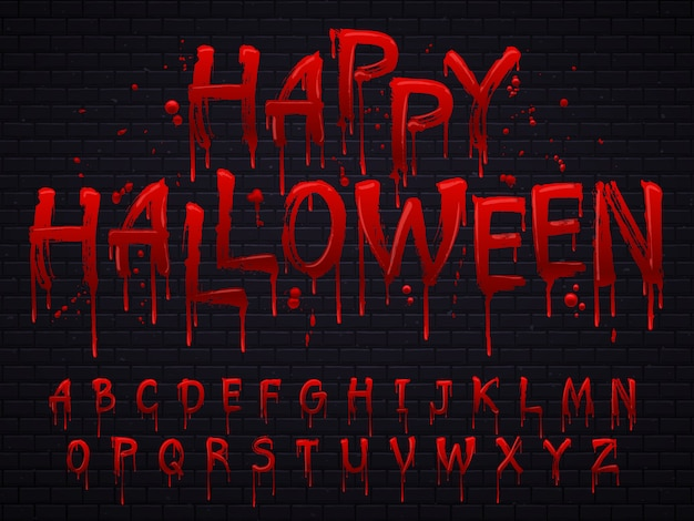 Horror alphabet letters written with blood