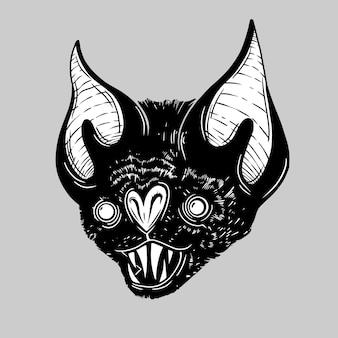 Horror black bat face illustration vector