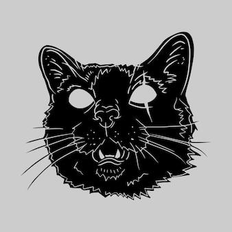 Horror black cat hand drawing illustration vector