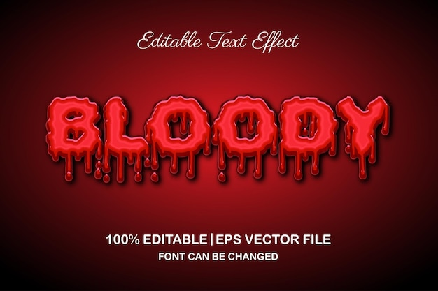 Horror bloody editable text effect 3d style