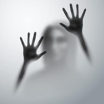 Horror blurred silhouette human hands