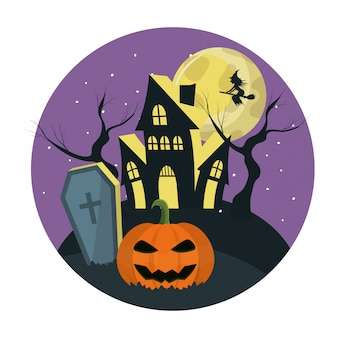 Horror castle in the cemerety with witch and pumpkin