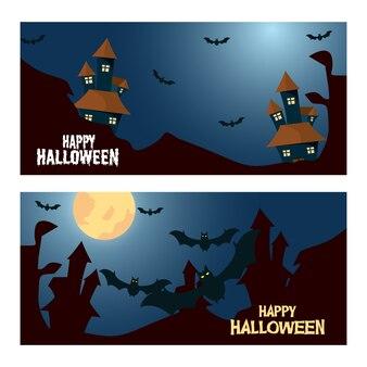 Horror castle and fliying bats halloween banner