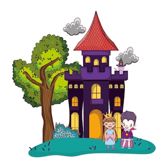 Horror castle with children costume and cat