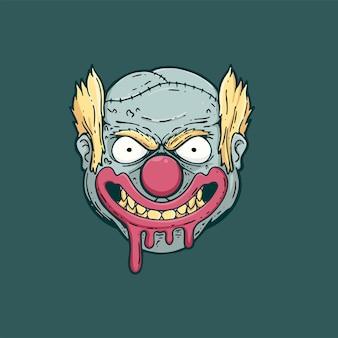 Horror clown zombie illustration design t shirt poster Premium Vector