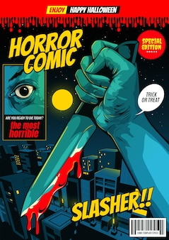 Horror comic, happy halloween cover template, hand holding a knife on night city background.