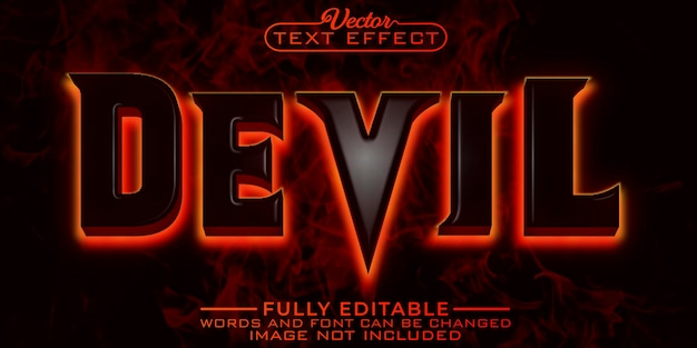 Шаблон редактируемого текстового эффекта horror devil fire