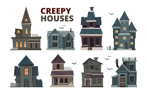 공포의 집. 으스스한 벡터 그림이 있는 할로윈 무서운 고딕 마을 건물입니다. 집 건물 할로윈, 공포 창 및 외부 그림