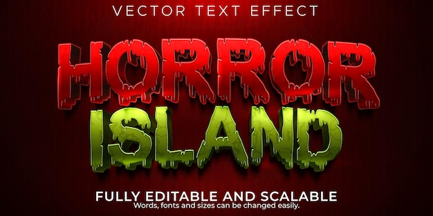 Horror island editable text effect, blood and zombie text style
