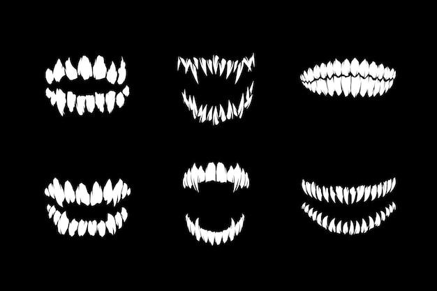 공포 괴물과 뱀파이어 또는 좀비 송곳니 이빨 실루엣 벡터 일러스트 컬렉션
