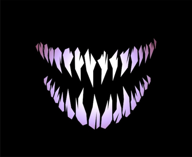 Horror monster and vampire fangs teeth silhouette vector illustration isolated on black background