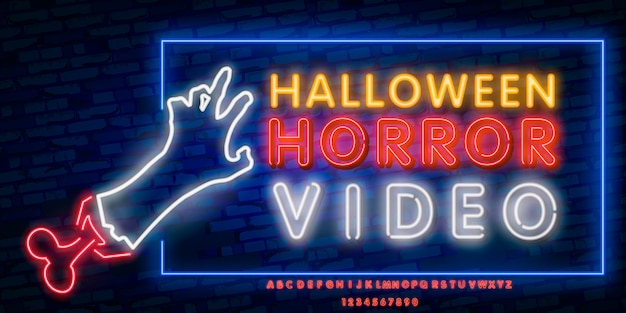 Horror movie neon sign, bright signboard, light banner.