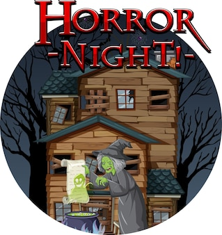Horror night text design with haunted house