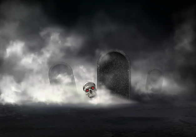 Horror on old cemetery at foggy night
