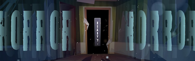 Horror poster with zombie hands in dark doorway