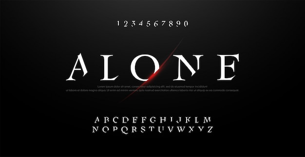 Horror, scary movie alphabet typography font set.