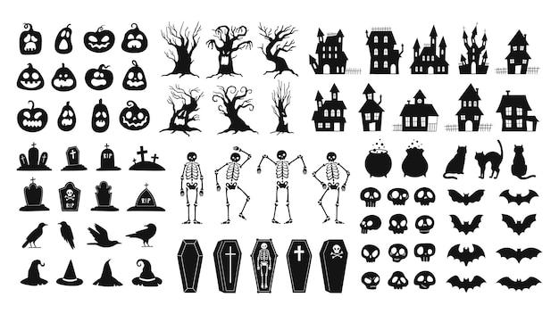 공포 실루엣입니다. 무서운 할로윈 장식 두개골과 해골, 마녀 모자, 검은 고양이, 까마귀, 묘지 관. 으스스한 집 벡터 세트