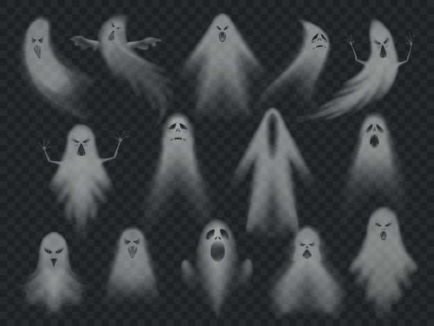 Horror spooky ghosts set