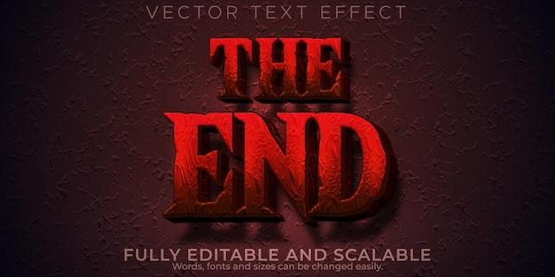 Текстовый эффект ужаса, редактируемая ночь и страшный стиль текста