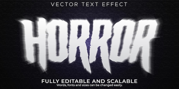 Эффект текста ужаса, редактируемый стиль текста ужаса и монстра