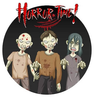 Horror time text design with three creepy zombies