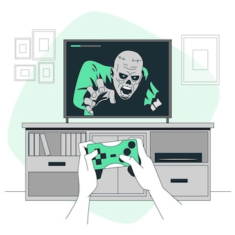 Illustrazione del concetto di videogioco horror