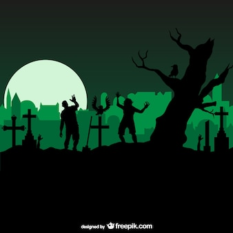 Horrow graveyard with zombies
