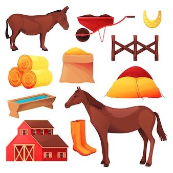 馬とロバの牧場または牧場